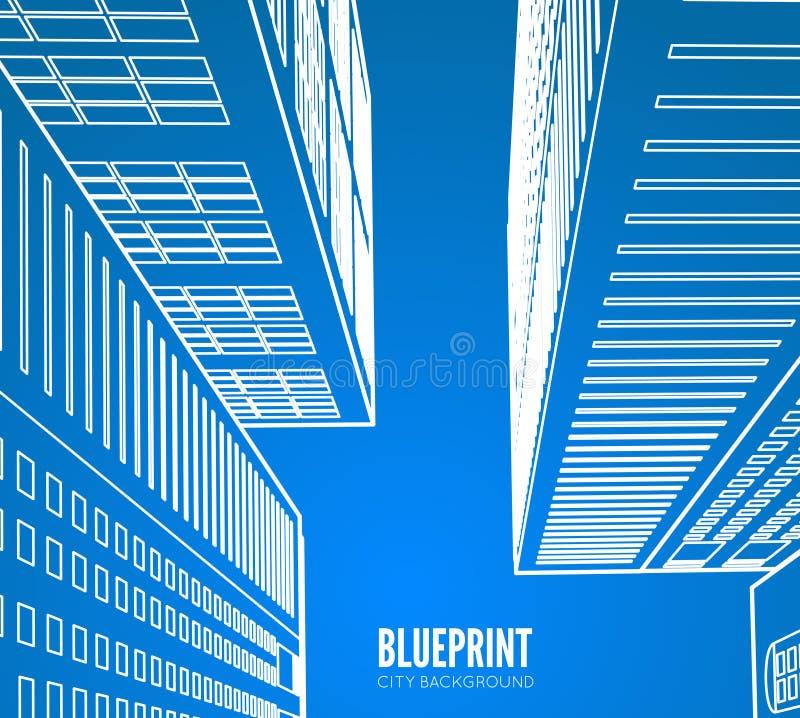Wireframe della costruzione 3d rendono la città illustrazione vettoriale