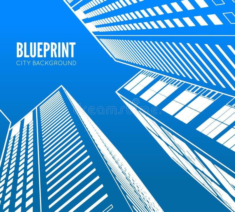 Wireframe della costruzione 3d rendono la città illustrazione di stock