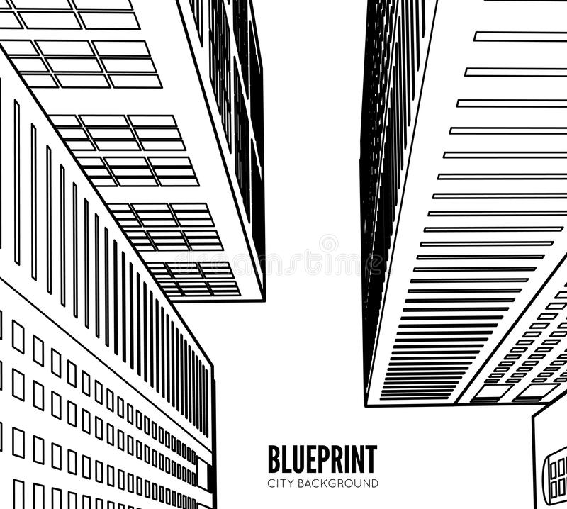 Wireframe della costruzione 3d rendono la città royalty illustrazione gratis