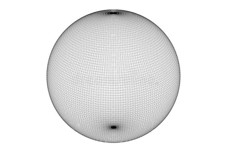 wireframe della sfera 3d illustrazione di stock