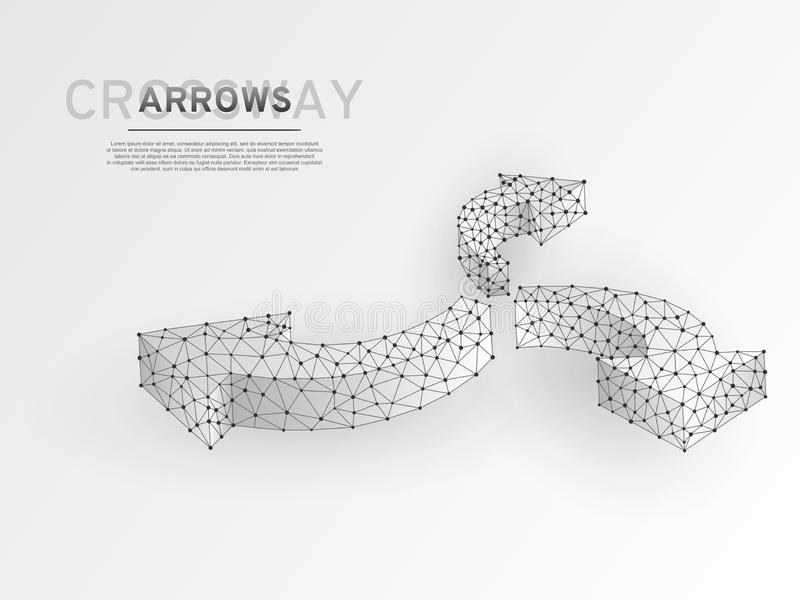 Wireframe delle frecce di modi di direzione tre della strada trasversale Vettore poligonale di scienza di poli crossway basso Wir illustrazione di stock