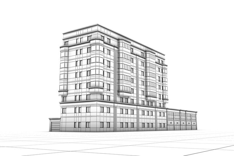 Wireframe des Gebäudes stock abbildung