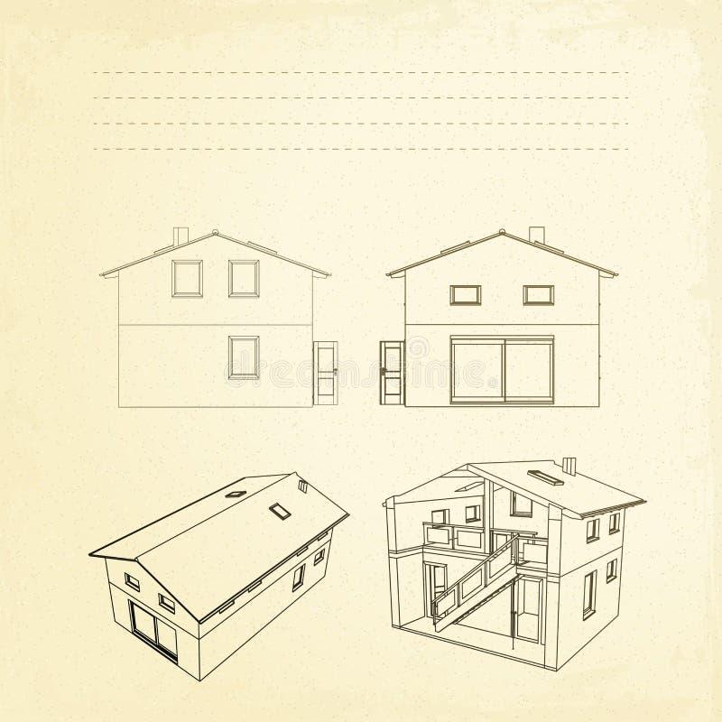 Wireframe des Gebäudes. vektor abbildung