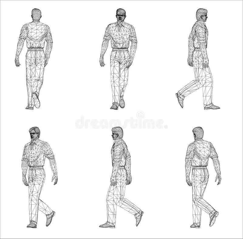 Wireframe design av mannen vektor illustrationer