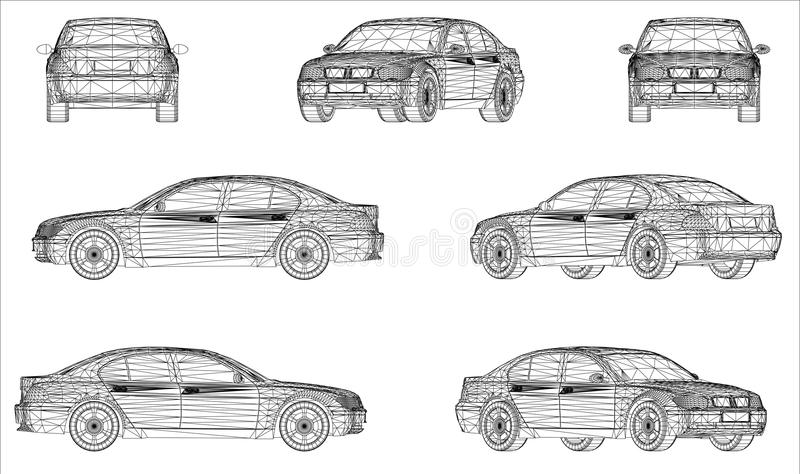 Wireframe design of modern car. Views - illustration stock illustration