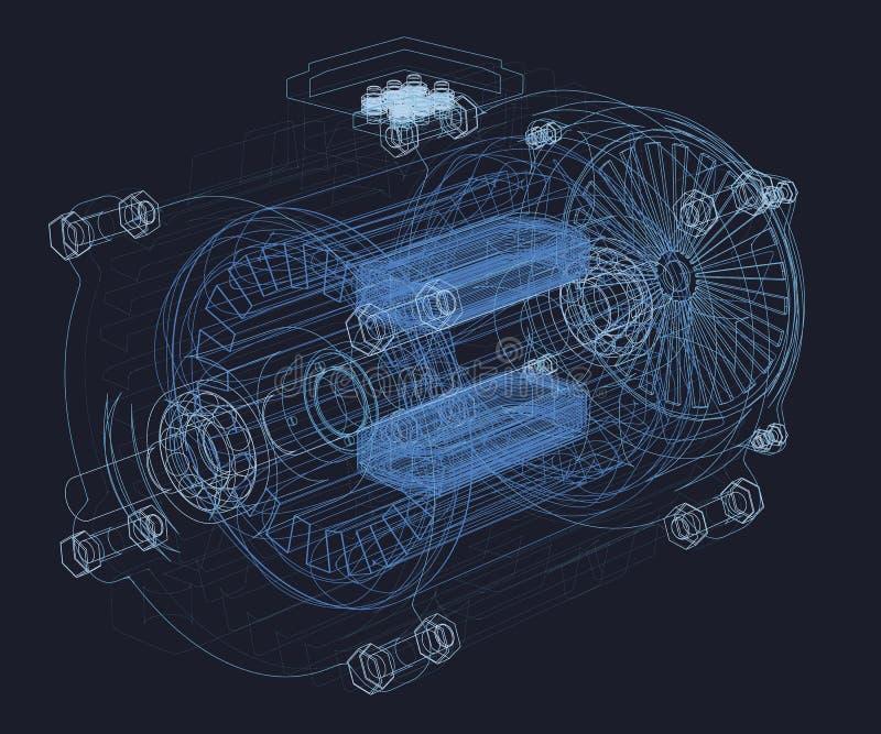 Wireframe do motor Peças internas do motor ilustração do vetor 3d ilustração stock