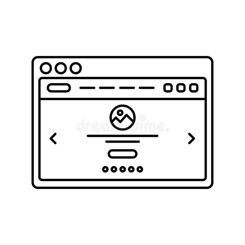 Wireframe do Web site no ícone alinhado janela Linha ícone da página da aterrissagem Interface de utilizador do página da web na  ilustração stock