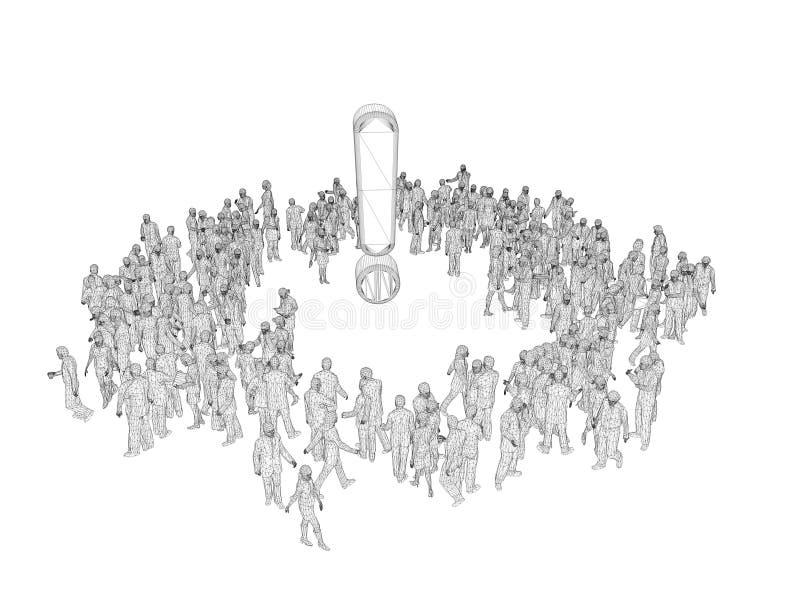 wireframe dos povos 3d em torno de um símbolo fotografia de stock