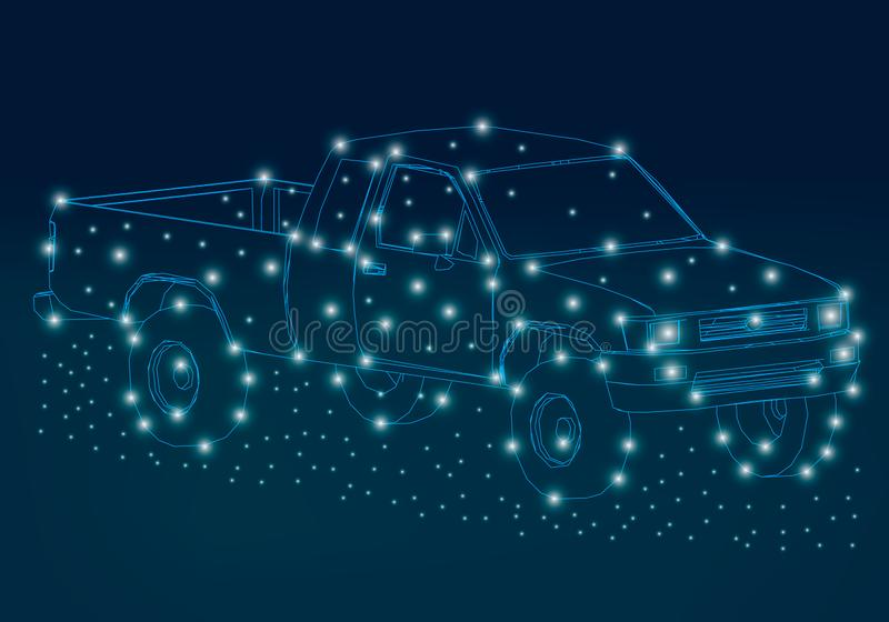 Wireframe du camion des lignes bleues sur un fond foncé La découpe du camion avec les lumières rougeoyantes isométrique illustration stock