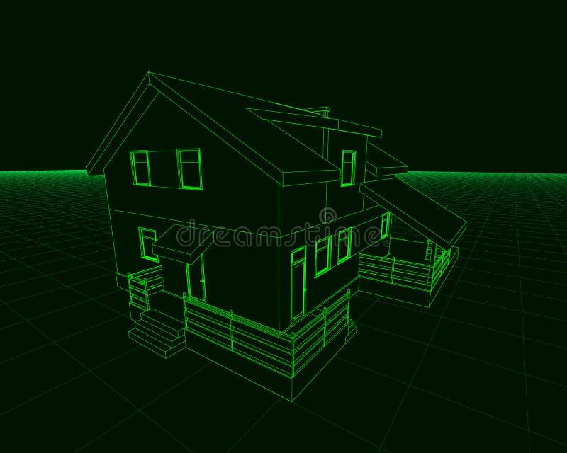 Wireframe du cottage des Lignes Vertes sur un fond foncé 3d Illustration de vecteur illustration libre de droits