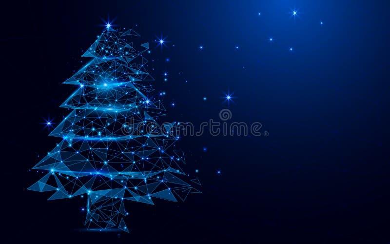 Wireframe eine Weihnachtsbaum-Zeichenmasche von einem sternenklaren auf blauem Hintergrund lizenzfreie abbildung