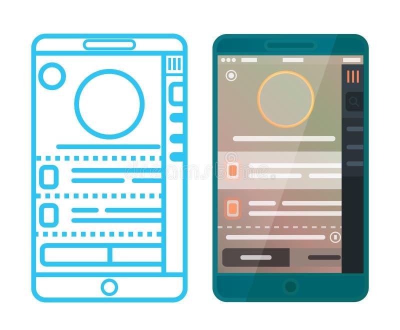 Wireframe et APP conçu illustration stock
