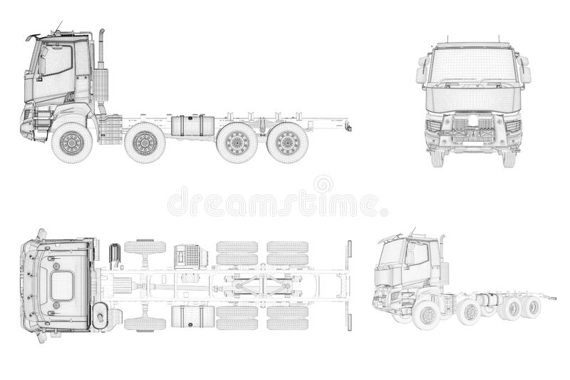 Wireframe generic and brandless truck in four view royalty free illustration