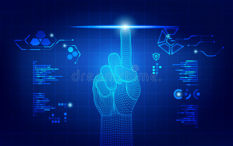 Wireframe hand. Touching digital interface, concept of communication world royalty free illustration