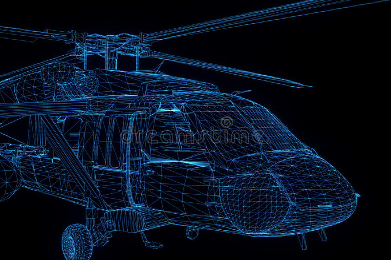 Wireframe Hologram Helicopter in Motion. Nice 3D Rendering stock photos