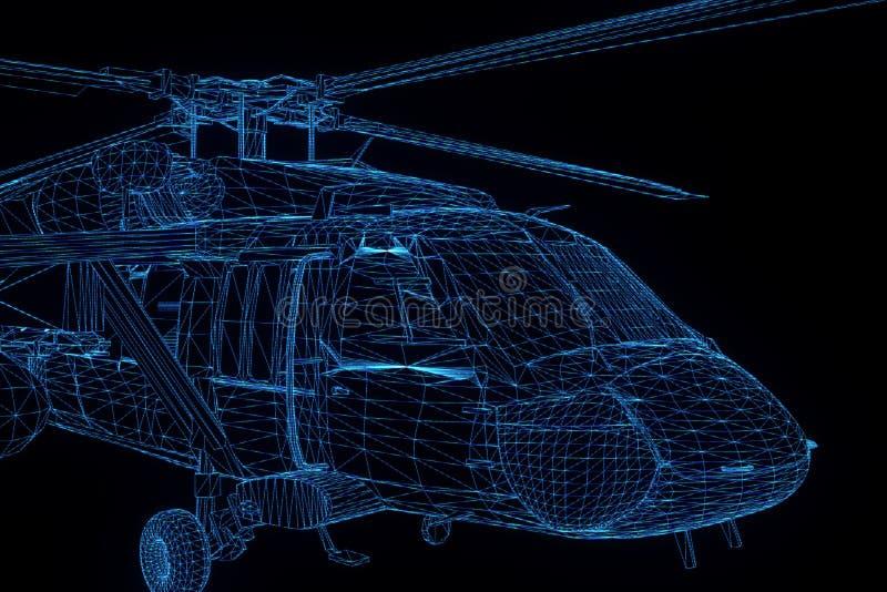 Wireframe-Hologramm-Hubschrauber in der Bewegung Nette Wiedergabe 3D stockfotos