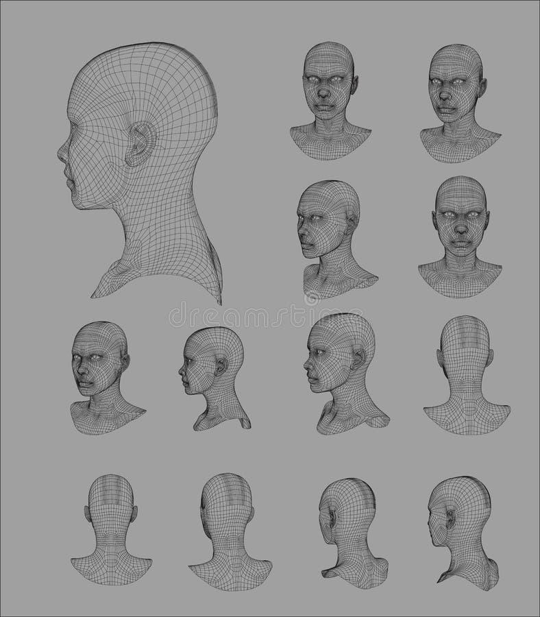 Wireframe hoofd 3d model vectorillustratie vector illustratie