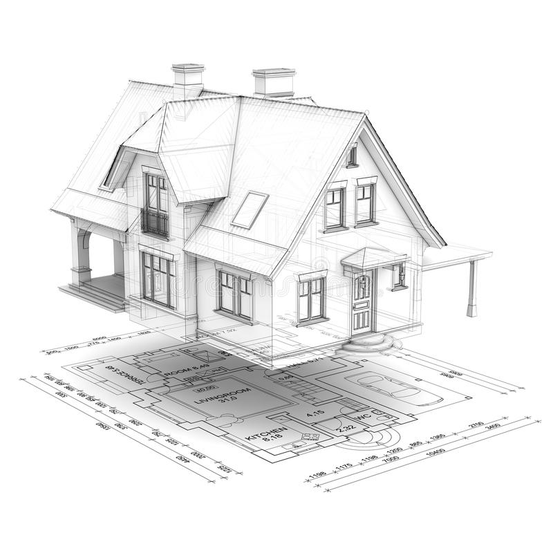 Wireframe house with floor plan royalty free stock photography
