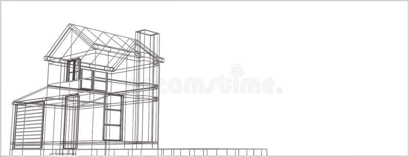 Wireframe house stock illustration