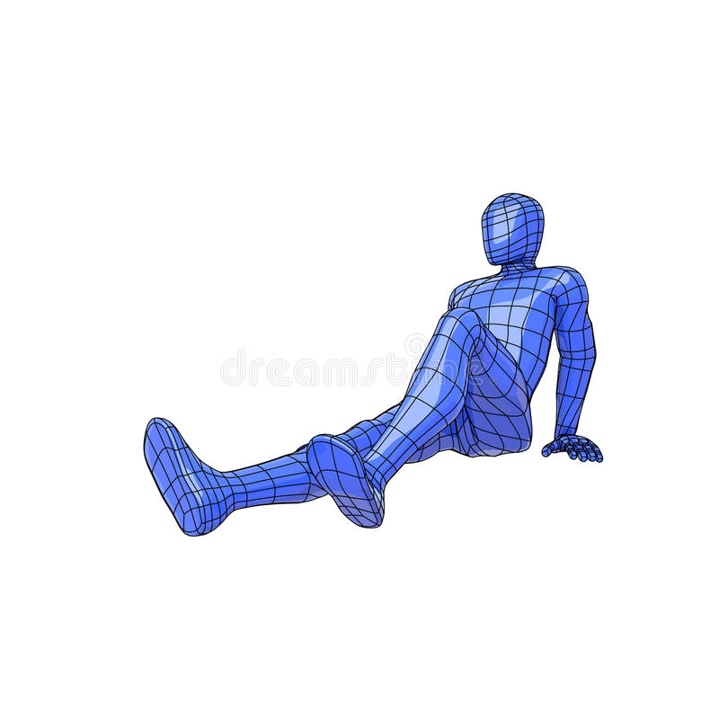 Wireframe human figure lying down taking the sun or tanning vector illustration