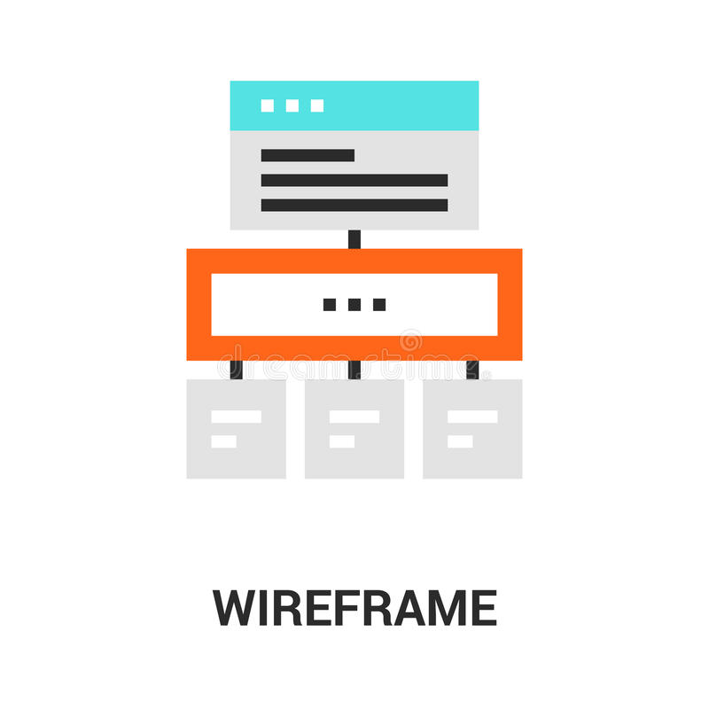Wireframe icon concept. Modern flat line vector illustration icon design concept. Icon for mobile and web graphics. Flat line symbol, logo creative concept stock illustration