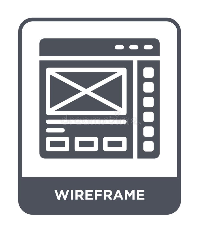 Wireframe icon in trendy design style. wireframe icon isolated on white background. wireframe vector icon simple and modern flat. Symbol for web site, mobile stock illustration