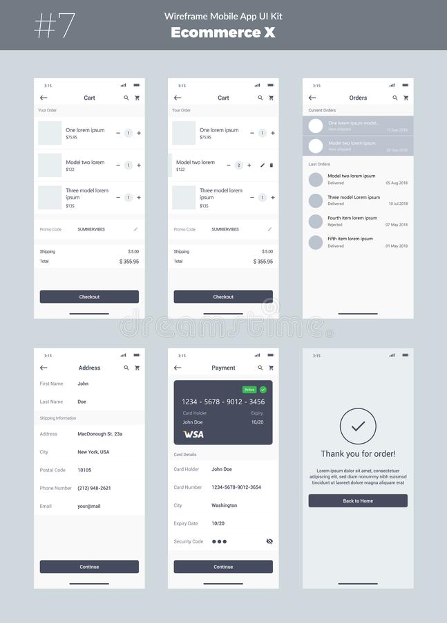 Free Wireframe Kit For Mobile Phone. Mobile App UI, UX Design. New Ecommerce Interface. Stock Image - 128826221