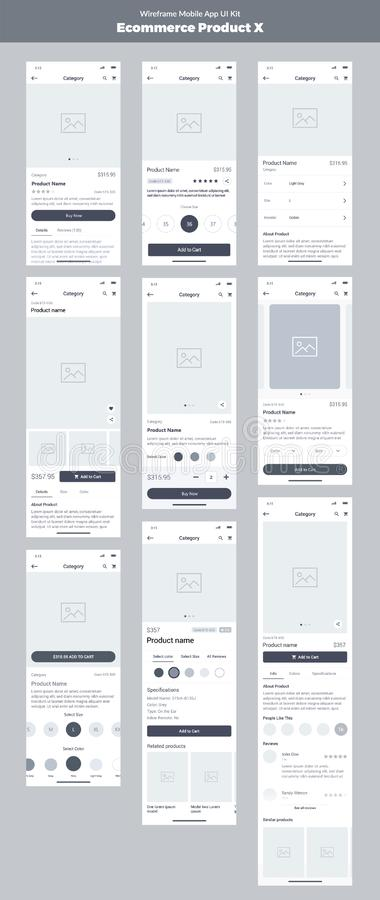 Wireframe kit for mobile phone. Mobile App UI, UX design. New ecommerce product. royalty free illustration