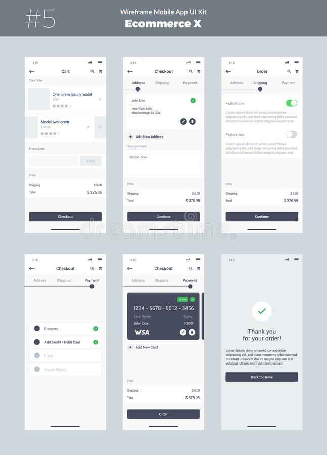 Wireframe kit for mobile phone. Mobile App UI, UX design. New ecommerce screens. royalty free illustration