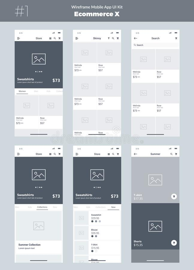 Wireframe kit for mobile phone. Mobile App UI, UX design. New ecommerce screens. stock illustration