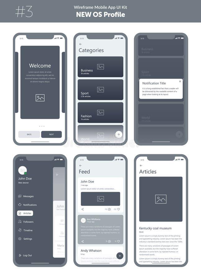 Wireframe kit for mobile phone. Mobile App UI, UX design. New OS Profile. stock illustration