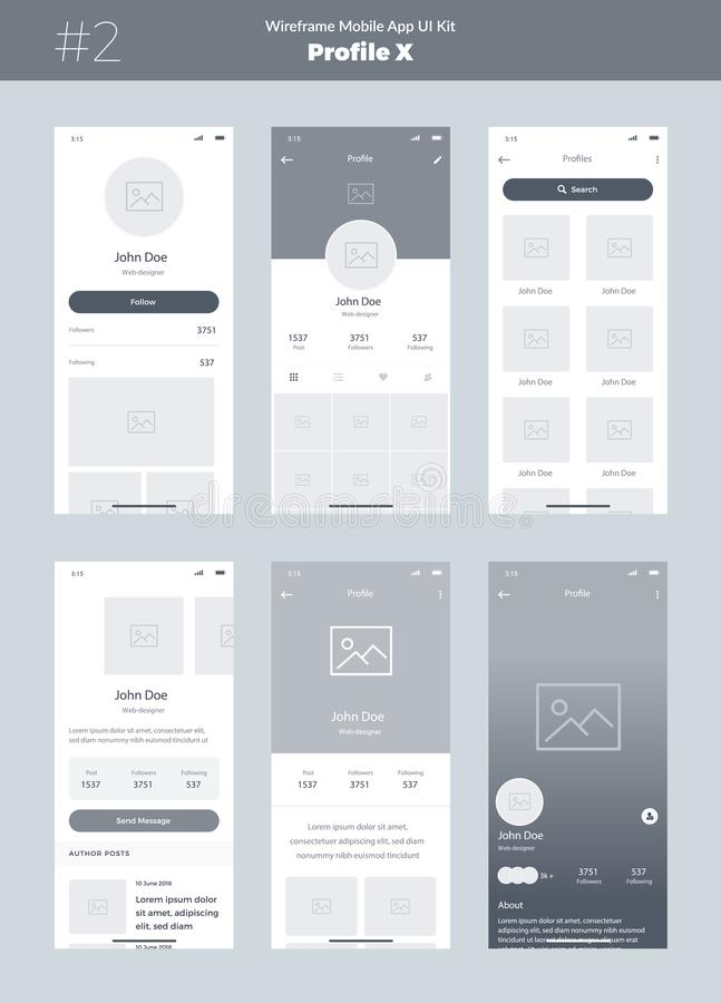 Wireframe kit for mobile phone. Mobile App UI, UX design. New profile screens. stock illustration