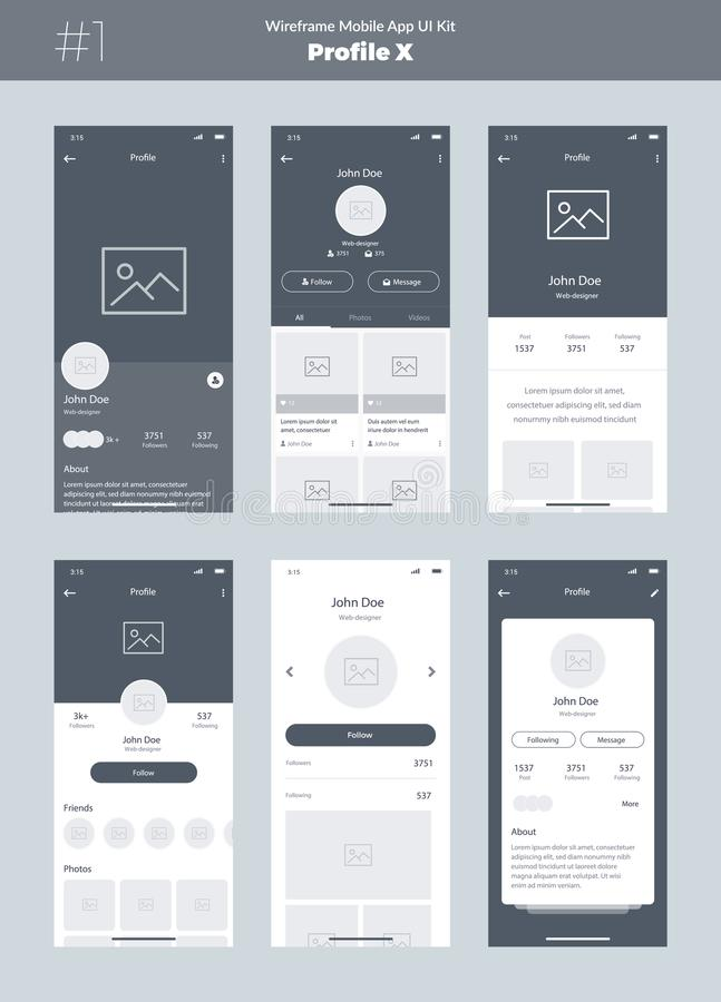 Wireframe kit for mobile phone. Mobile App UI, UX design. New profile screens. vector illustration