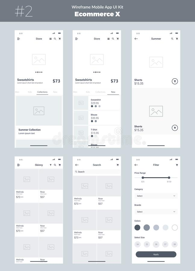 Wireframe kit for mobile phone. Mobile App UI, UX design. New store ecommerce screens. Wireframe kit for mobile phone. Mobile App UI, UX design. New ecommerce stock illustration