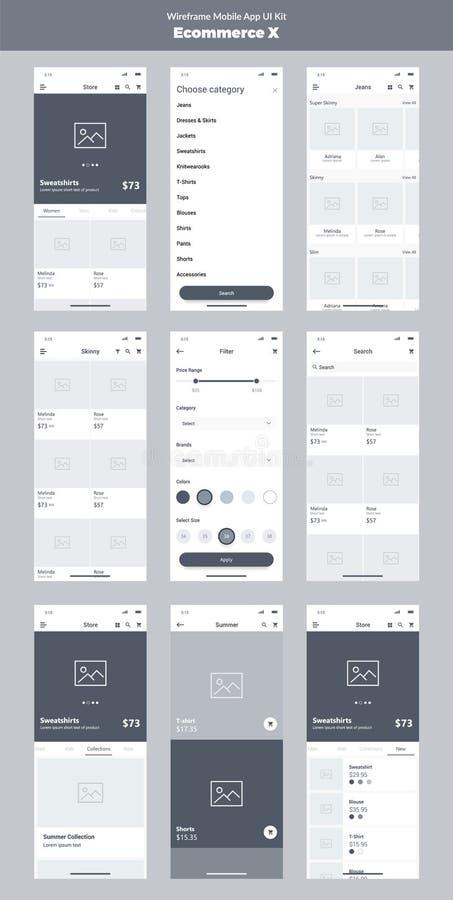 Wireframe kit for mobile phone. Mobile App UI, UX design. New ecommerce. Wireframe kit for mobile phone. Mobile App UI, UX design. New ecommerce: store, filter stock illustration