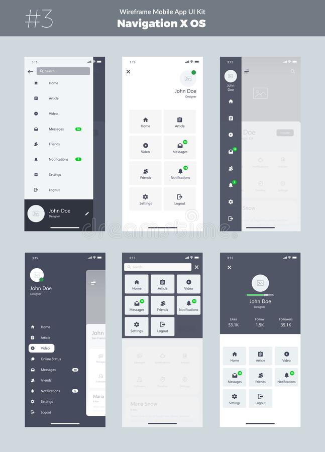 Wireframe kit for mobile phone X. Mobile App UI, UX design. New OS Navigation. Menu screens. Wireframe kit for mobile phone X. Mobile App UI, UX design. New OS royalty free illustration