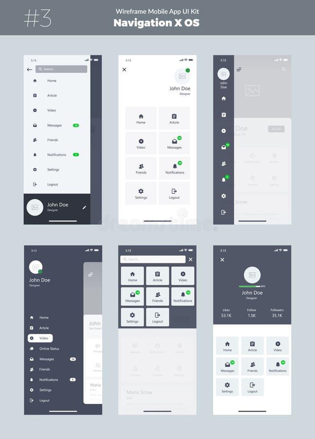 Wireframe kit for mobile phone X. Mobile App UI, UX design. New OS Navigation. Menu screens. royalty free illustration