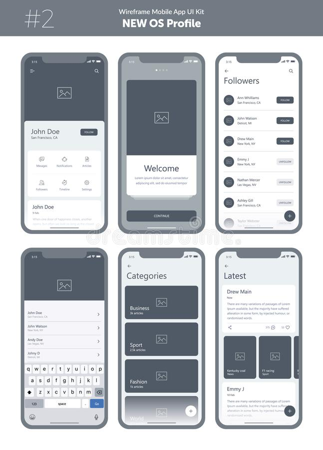 Wireframe kit for mobile phone. Mobile App UI, UX design. New OS Profile. royalty free illustration