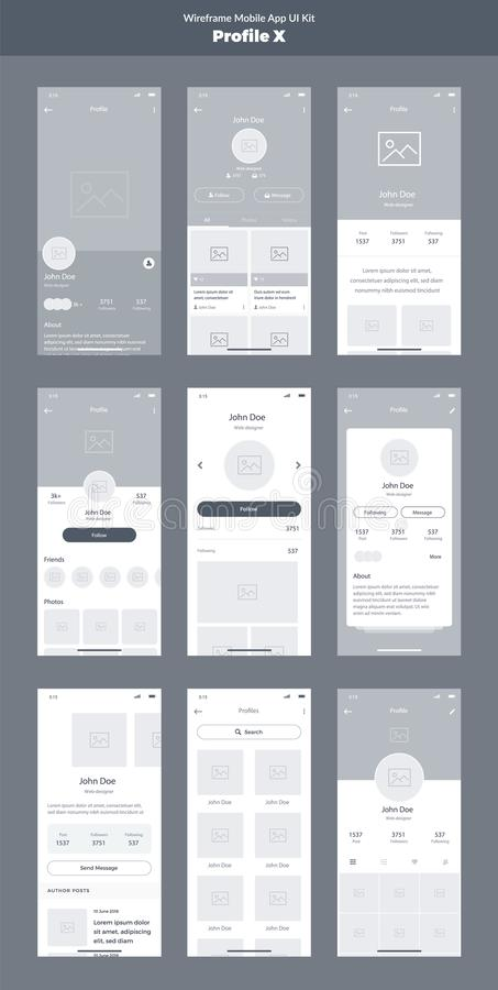 Wireframe kit for mobile phone. Mobile App UI, UX design. New profile screens. Wireframe kit for mobile phone. Mobile App UI, UX design. Profile screens stock illustration