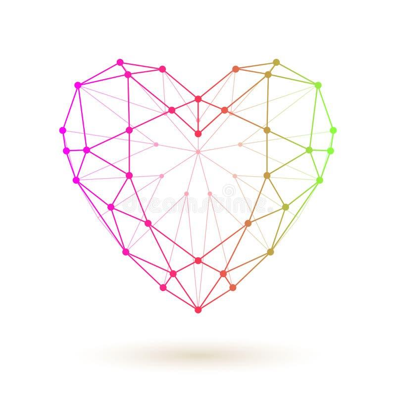 Wireframe kleurrijk hart royalty-vrije illustratie