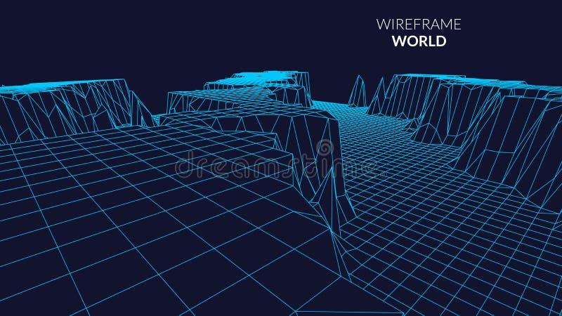 Wireframe-Landschaftsberghintergrund Futuristische Landschaft mit Linie Gitter Niedriges Poly-3D Wireframe Diagramm netz stock abbildung