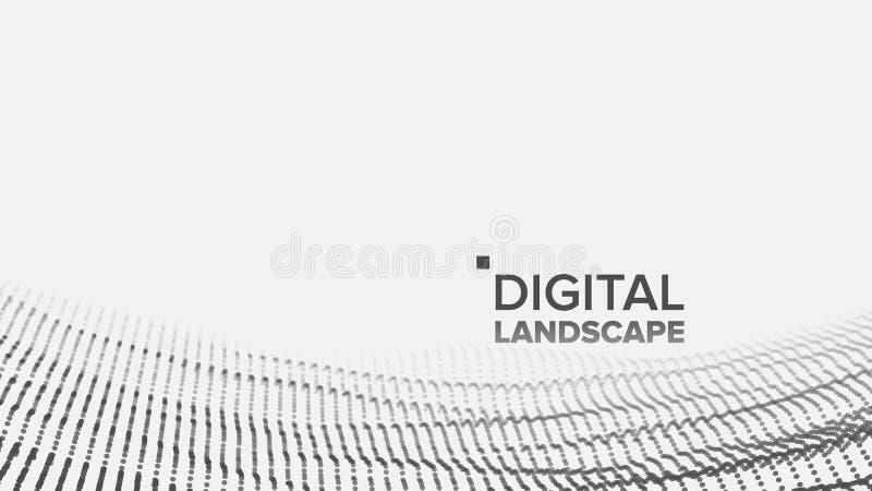 Wireframe landskapvektor Datateknologi Vågberg Techyttersida Lättnadsstruktur Energiutrymme topografi royaltyfri illustrationer