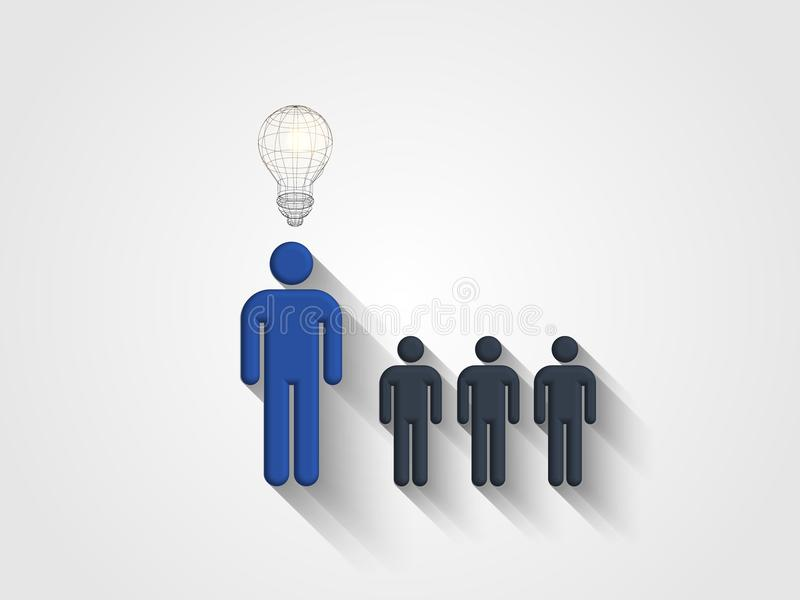 Wireframe lightbulb boven menselijk hoofdmodel vertegenwoordigt concept techniek en innovatie Concept het denken uit de doos vector illustratie