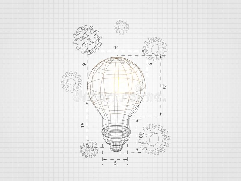 Wireframe lightbulb with 3d gear on grid background represents technology concept and engineering. Vector illustration.  stock illustration