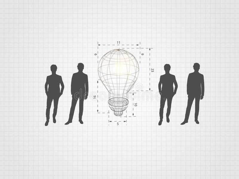 Wireframe lightbulb among humans on grid background represent creative idea, innovation concept, inspiration process. Wireframe lightbulb among humans on grid vector illustration