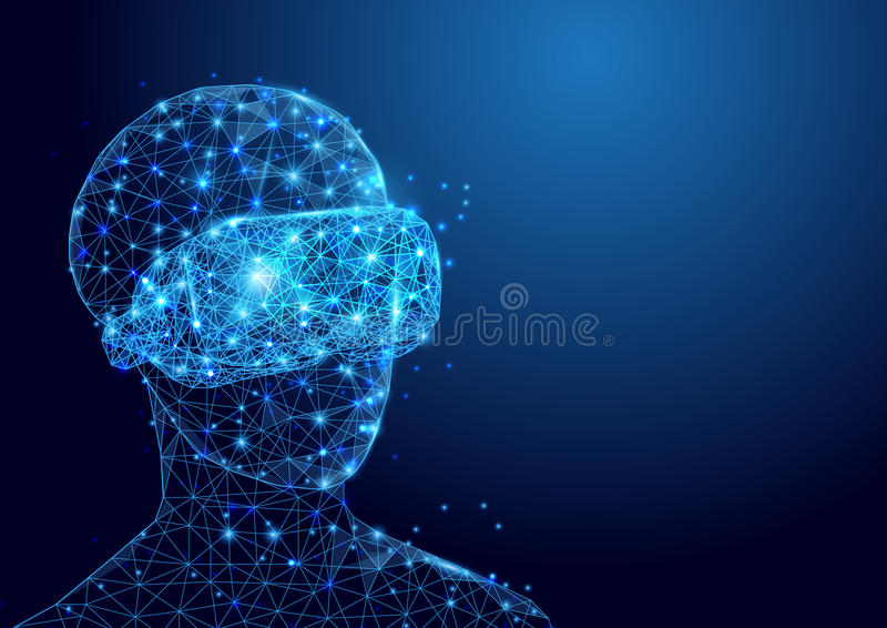 Wireframe man with VR headset sign mesh from a starry and start up concept background. Future technology concept stock illustration