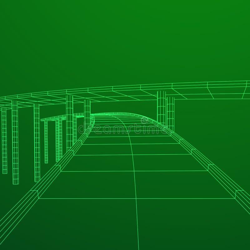 Wireframe Mesh Bridge Highway Crossing royaltyfri illustrationer