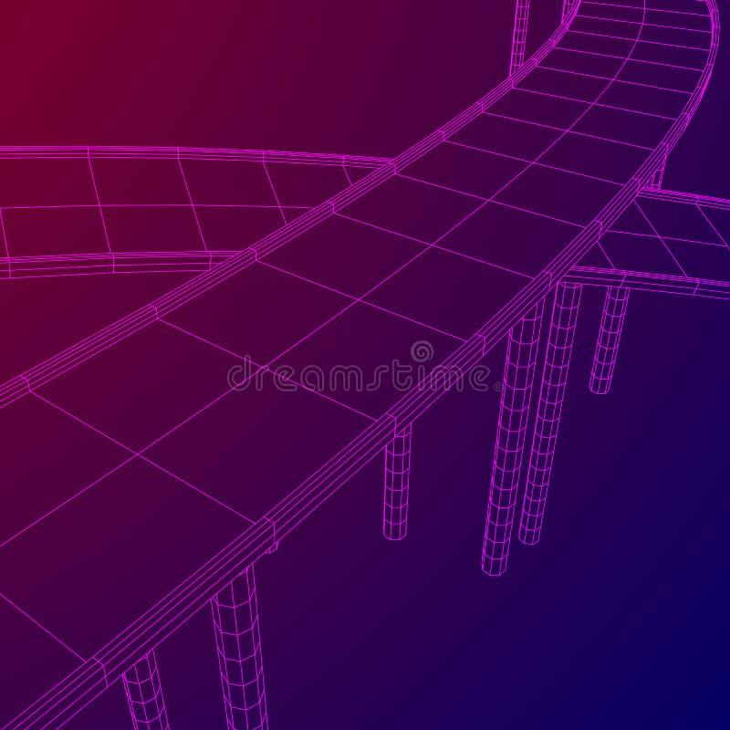 Wireframe Mesh Bridge Highway Crossing vektor illustrationer