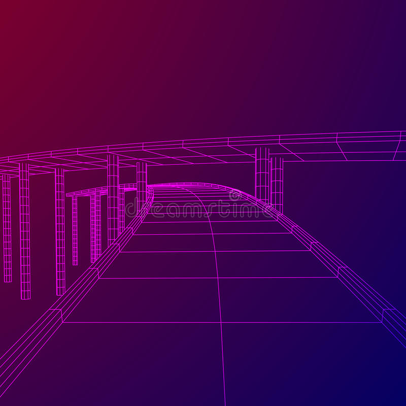 Wireframe Mesh Bridge Highway Crossing stock illustrationer