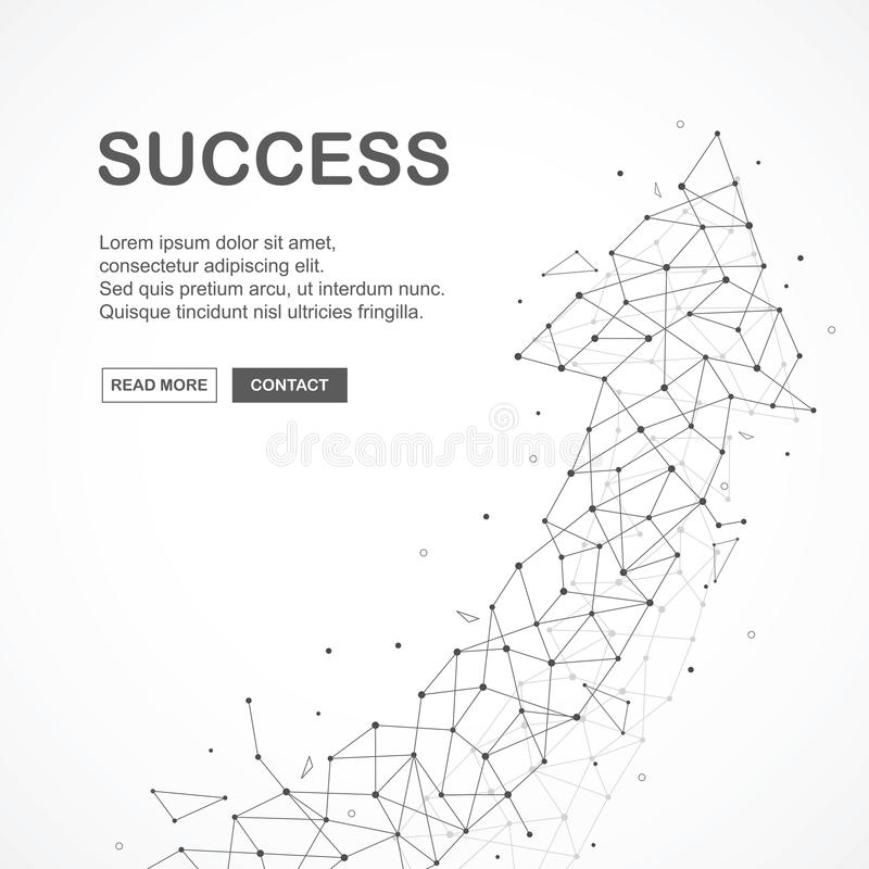 Wireframe mesh broken polygonal element. grossing arrow shape with connected lines and dots. vector illustration